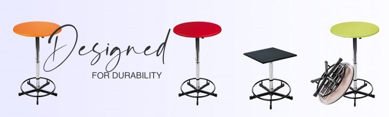 Stehtisch mit Edelstahl Gestell höhenverstellbar 70-80cm Tischplatte Outdoor