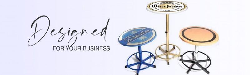 Stehtisch mit Logo auf der Tischplatte als Werbung für Ihr Unternehmen