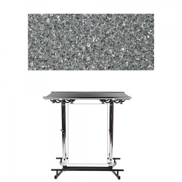 GiganTisch Dekor: Black Granit | Werbebanner: weiß